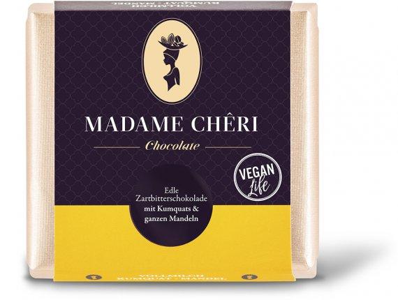 90 g Tafel Zartbitter Vegan Kumquats - Mandel Schokolade