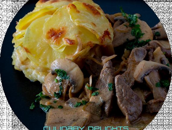 Boef Stroganoff mit Kartoffelgratin